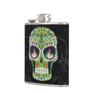 Candle Eyes Tattoo Mexican Sugar Skull Hip Flask