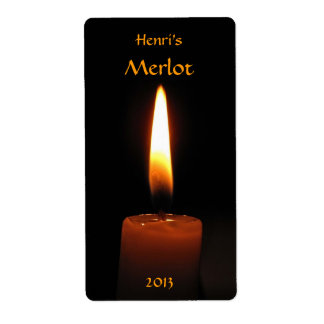 Candle Flame Wine Label Shipping Label