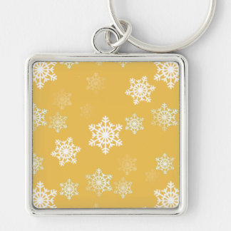 Candle Glow Yellow and White Snow Flurries Keychain