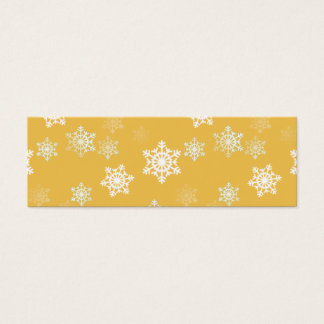 Candle Glow Yellow and White Snow Flurries Mini Business Card