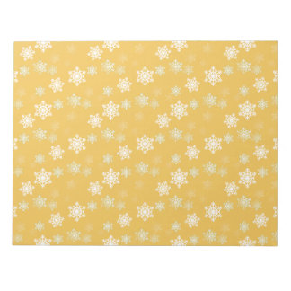 Candle Glow Yellow and White Snow Flurries Notepad