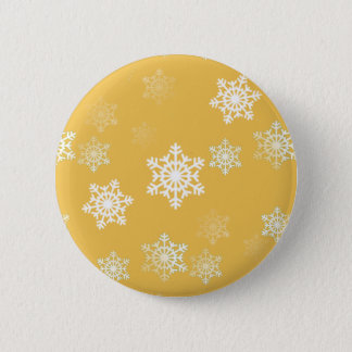 Candle Glow Yellow and White Snow Flurries Pinback Button