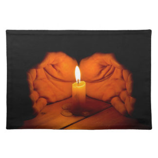 Candle, hands, flame, wood. placemat