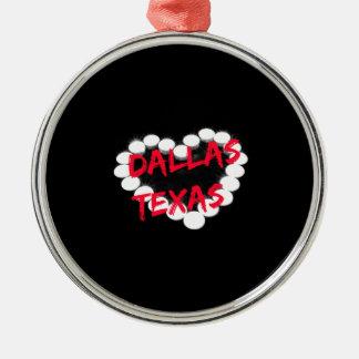 Candle Heart Design For Dallas, Texas Metal Ornament