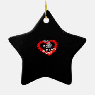 Candle Heart Design For The State of Michigan Ceramic Ornament
