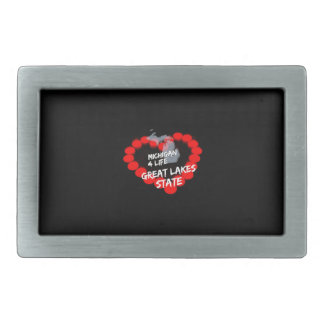 Candle Heart Design For The State of Michigan Rectangular Belt Buckle