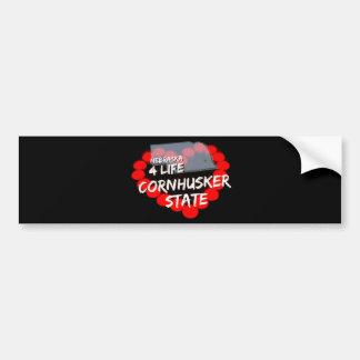 Candle Heart Design For The State of Nebraska Bumper Sticker