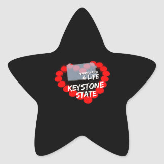 Candle Heart Design For The State of Pennsylvania Star Sticker