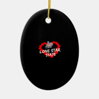Candle Heart Design For The State of Texas Ceramic Ornament