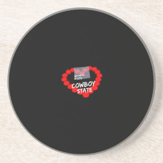 Candle Heart Design For The State of Wyoming Sandstone Coaster