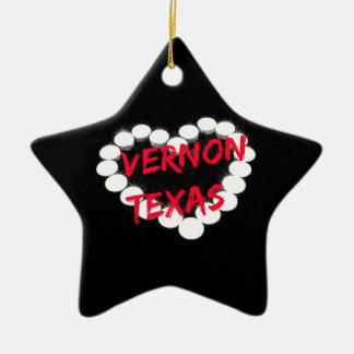 Candle Heart Design For Vernon, Texas Ceramic Ornament