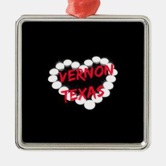 Candle Heart Design For Vernon, Texas Metal Ornament