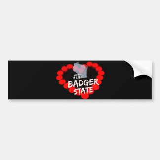 Candle Heart Design For Wisconsin State Bumper Sticker