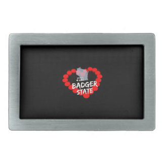 Candle Heart Design For Wisconsin State Rectangular Belt Buckle