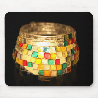 Candle in glass decorated jar mouse pad