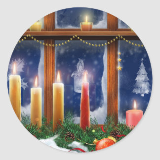 Candle in the Window Christmas Stickers