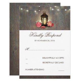 Candle Lantern Vintage and Rustic Wedding RSVP Card