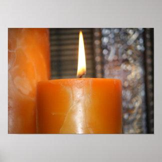 Candle light closeup poster