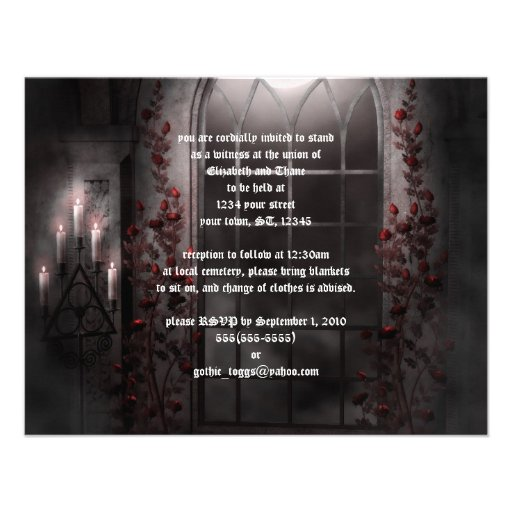 Candle Light Roses Goth Wedding Invitation