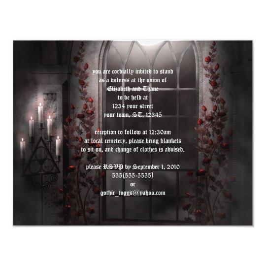 Candlelight Wedding Invitations: Candle Light Roses Goth Wedding Invitation