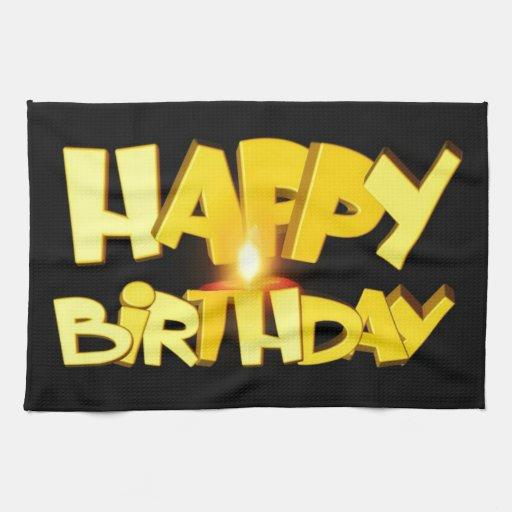 Candle Lit Happy Birthday Kitchen Towel