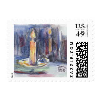 Candle reflection postage stamp