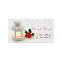 Candle, Stars Holiday Label