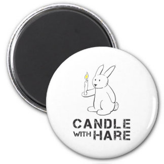 Candle With Hare - Product 2 Inch Round Magnet