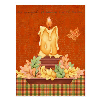 Candle with Leaves Postcard