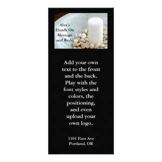Candle with meditation stones full color rack card