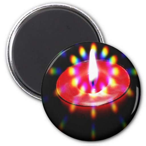 Candle With Special Lights 2 Inch Round Magnet