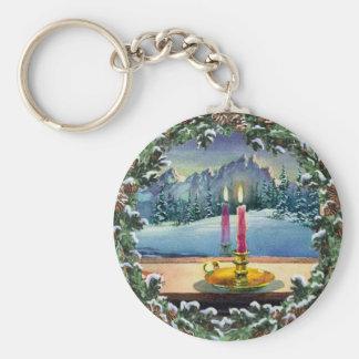 CANDLE & WREATH by SHARON SHARPE Basic Round Button Keychain