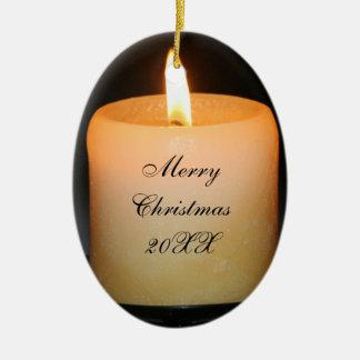 candle xmas ceramic ornament