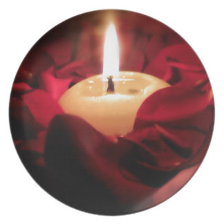 Candlelight and Roses Melamine Plate