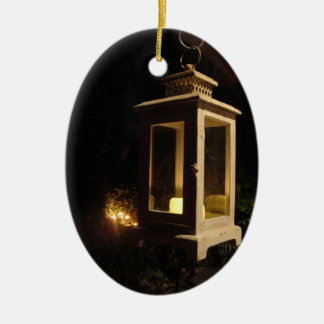 Candlelight on the Patio Double-Sided Oval Ceramic Christmas Ornament