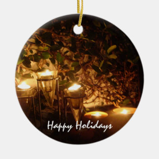 Candlelight on the Patio Double-Sided Ceramic Round Christmas Ornament