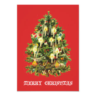 Candlelit Christmas Tree Ornaments Garland Card