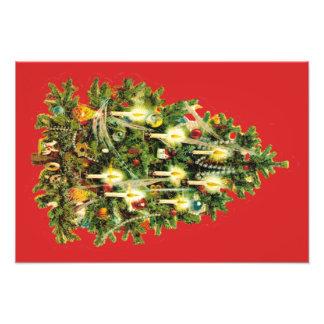 Candlelit Christmas Tree Ornaments Garland Photo Print
