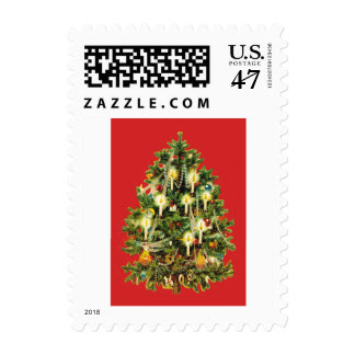 Candlelit Christmas Tree Ornaments Garland Postage