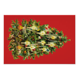 Candlelit Christmas Tree Ornaments Garland Poster
