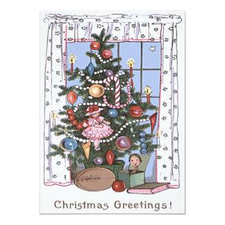 Candlelit Christmas Tree Presents Football Doll Card