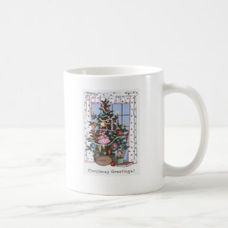 Candlelit Christmas Tree Presents Football Doll Coffee Mug