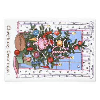 Candlelit Christmas Tree Presents Football Doll Photo Print