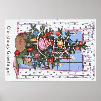 Candlelit Christmas Tree Presents Football Doll Poster