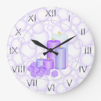 Candles and Bubbles Bathroom Wall Clock