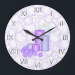 """Candles and Bubbles Bathroom Large Clock<br><div class=""""desc"""">Silver roman numerals,  a bubble background and a set of lit relaxing candles with bath pearls. artwork&#169;Delightful-Doodles</div>"""