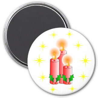 Candles and Holly Refrigerator Magnets