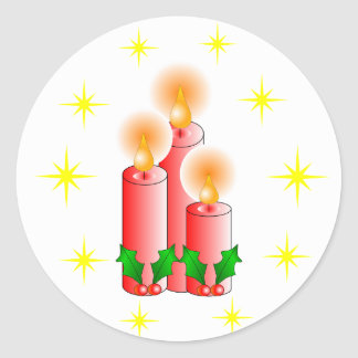 Candles and Holly Round Sticker