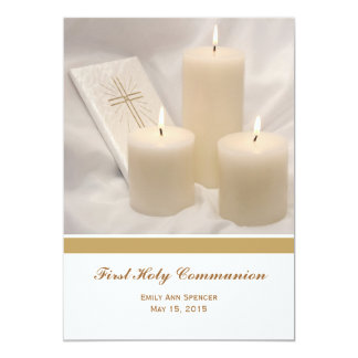 Candles and Prayer Book First Holy Communion 5x7 Paper Invitation Card