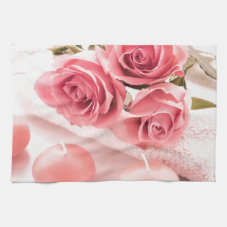 Candles and roses towel
